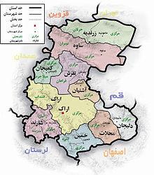 نقشه استان مرکزی
