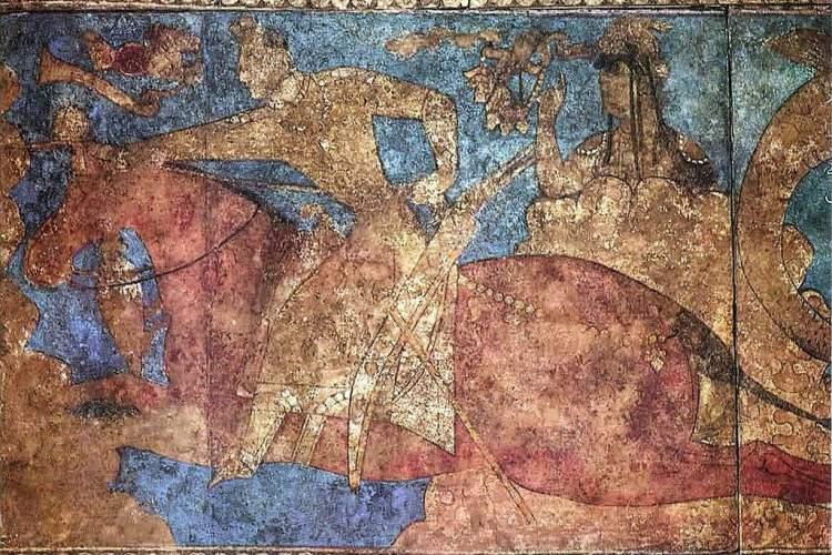 دیوارنگاره ایزد بزرگ دختر نوشیروان یادگاری از عصر ساسانیان