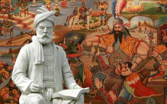 A statue of Ferdowsi and a teahouse painting illustrating a story from his Shahnameh
